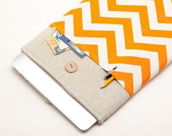 Orange Chevron Laptop Case. Case for MacBook 13 Pro Retina. Sleeve for MacBook 13 Air / MacBook 13 Pro Retina.