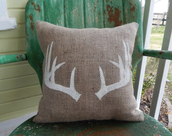 Burlap Pillow ANTLERS Deer Throw Accent Pillow Custom Colors Available Home Decor