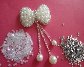 Kawaii alloy pearl rhinestone bow charm decoden phone deco diy---USA seller