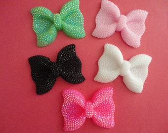 Sale--Kawaii big bow with rhinestones decoden deco diy charms    5 pcs---  USA seller