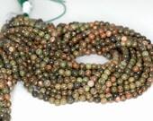 """3mm Green Unakite Round beads full strand 16"""" Loose Beads P142731"""