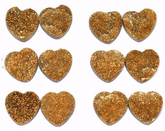 Grade AA Amazing 1 Piece Gold Love / Heart 20mm Calibrated Druzy Druse Cabochon B87D5718