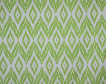 SPECIAL--Lime Green and White Ikat Print Pure Cotton Fabric--One  Yard