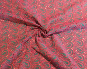 Fuchsia Pink on Jade Green Paisley Design Embroidered Pure Cotton Eyelet Fabric--One Yard