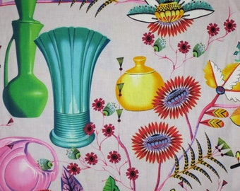Colorful Pottery and Floral California Print Pure Cotton Fabric--One Yard