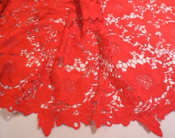 Bright Red Floral Design Red Guipure Lace Fabric--One Yard