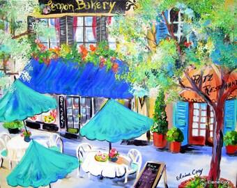 Paris Cafe Original Painting bakery original painting original art gift for her street scene art gift for her 22 x 28 Art by Elaine Cory