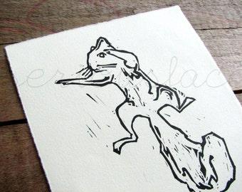 Ninja Squirrel II - Original Art - Hand Pressed Linoleum Cut