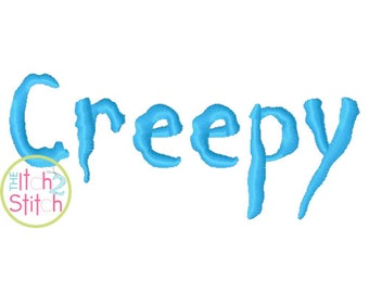 "Creepy Machine Embroidery Font  1.0"" & 1.5""  INSTANT DOWNLOAD now available"