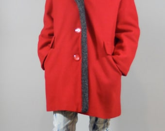 Vintage 60s Coat / 1960's Mod Red Wool Coat with Faux Fur Lining by Davis of Boston