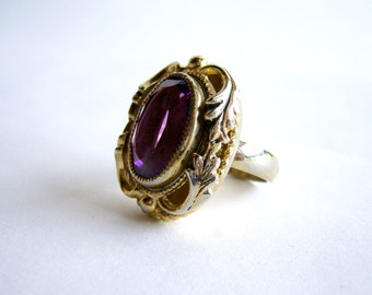 1980's Baroque Style Amethyst Glass Ring