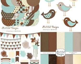 Baby Boy Scrapbook Kit Digital Washi Tape Clip Art Pinwheel Watercolor Journal Spot Bird - Charlie