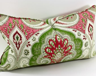 Kravet's Latika in Geranium Lumbar Pillow Cover, Throw Pillow, Toss Pillow, Cushion