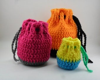 Drawstring Bag Set - Digital Download PDF Crochet Pattern - DIY Coin Purse Pouch