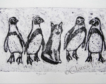 Penguin Cat Art Print Limited Edition Hand-Pulled Collograph
