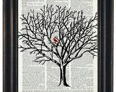 Cardinal Art Print Dictionary HHP Original Book Page Print Upcycle Wall Art Book Art Vintage Dictionary Tree Dictionary Page