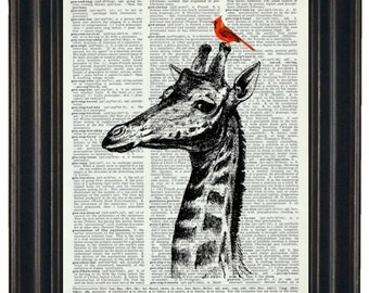 BOGO SALE GIRAFFE Art Print Giraffe and Cardinal Print Art Print Giraffe with Cardinal Friend on Vintage Dictionary Book Page 8 x 10