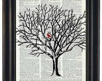 BOGO SALE Cardinal Art Print Dictionary HHP Original Book Page Print Upcycle Wall Art Book Art Vintage Dictionary Tree Dictionary Page