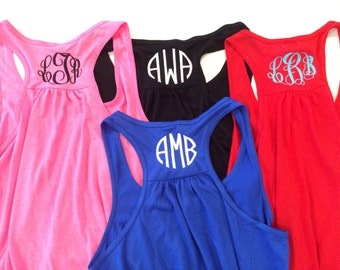 Womens racerback tank with monogram