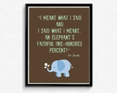 Dr Seuss Quote Elephant Green and Brown Print, Kids Art, Nursery Wall Art, 8x10 Print, INSTANT DOWNLOAD
