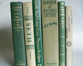 Vintage Book Collection Home Decor Instant Library Set of 6 Green and Tan Books Photo Prop Shelf Display Wedding Decor