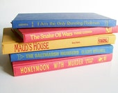 Vintage Book Collection Home Decor Instant Library Set of 5 Books Vermillion Red Yellow and Blue Photo Prop Shelf Display Wedding Decor