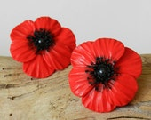 Poppy flowers earrings