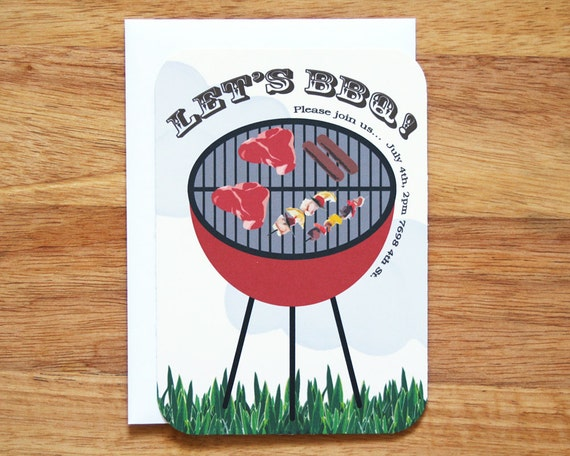 Personalized BBQ Invitations - Set of 12