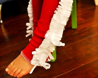Red Baby Leg Warmers with White Ruffles and Satin Bows/ Baby Girl Leg Warmers / Christmas Baby Leg Warmers