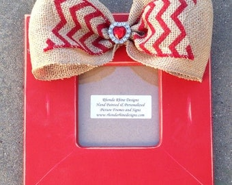 Red Valentine Frame with burlap bow and jeweled heart center