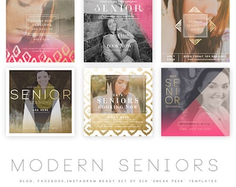 INSTANT DOWNLOAD  Modern Seniors vol 4 Blog, Facebook and Instagram ready Templates