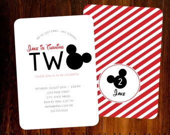 Mickey Mouse invitations, double sided