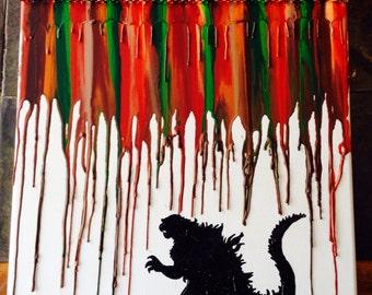 Godzilla Inspired  Melted Crayon Painting Art