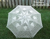 "35"" Lace Crochet UMBRELLA PARASOL, Off White, Ivory, Cream, Barefoot Summer Wedding, Flower Girl, Steampunk, Goth-Ready to Ship"