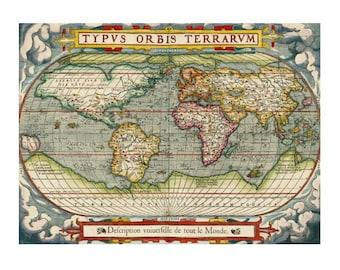 WORLD MAP 7M- Handmade Leather Passport Cover / Travel Wallet - Travel Art