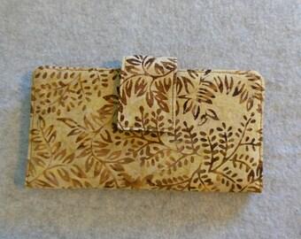 Fabric Wallet - Brown Leaf Batik