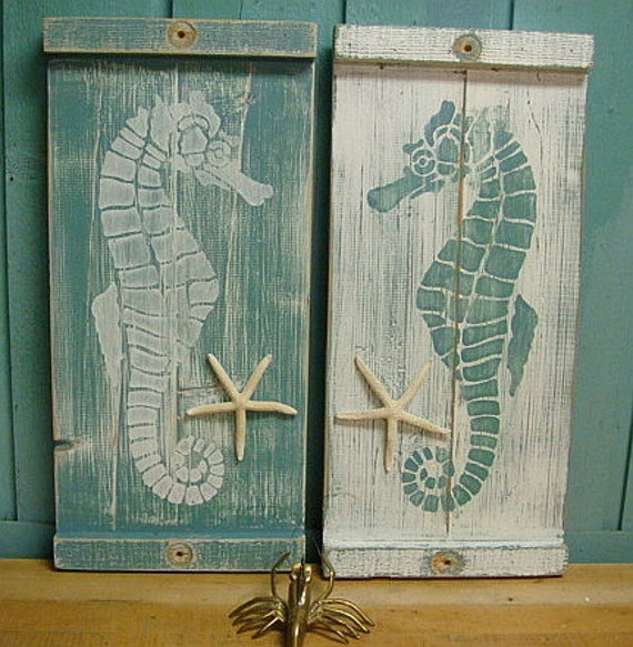 Beach Wall Decor seahorse sign wall art wood wooden beach house decor one