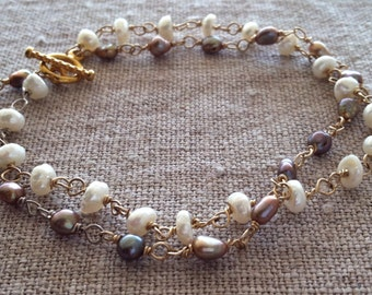 Pearl Bracelet- Ivory Keishi Pearls, Bronze Freshwater Pearls, Silver and Gold Bracelet