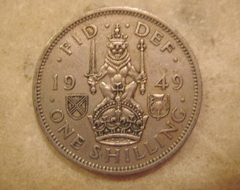 "1949 United Kingdom,  One Shilling - George VI Scottish crest, without ""IND:IMP"""