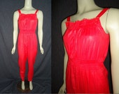 Free Shipping Cutie Red Overalls Vintage 1980's Womens One Piece Jumpsui XS S