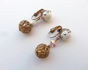 Vintage 60s Earrings Clip On Drop Dangle White Ball Crystal Disk and Goldtone Filagree Ball