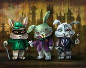 Gotham City Bunnies Art Print -8.5 x 11 - Joker, Riddler and Two-Face