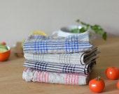 Plaid Tea Towel, Tartan Linen Towels, Checked Hand Towels Natural With Color Towels