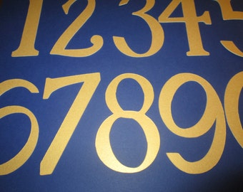 2 1/2 inch Metallic Gold Number  1 through 25 for banners, wedding tables, birthdays, scrapbooking