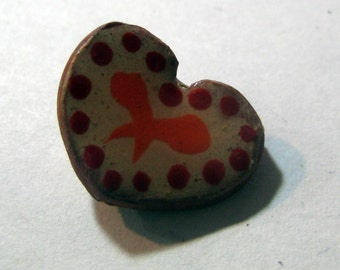 Handmade ceramic buttons -  pair of small red  heart pottery buttons C11