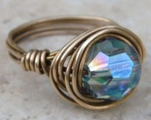 Ice Blue Glass Vintage Bronze Ring