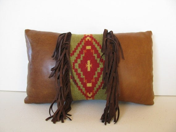 Leather & Southwestern Tapestry Pillow With Tassels