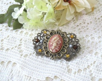 Antique Brass Layered Filigree Cameo Brooch in Faded Coral Red