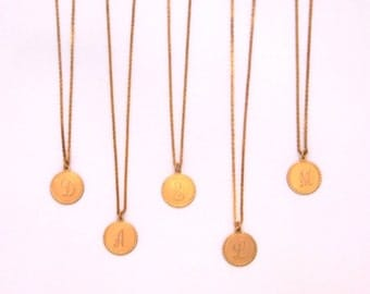 Brass Initial Charm Necklace- 28 Inch Brass Chain