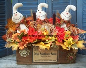 OOAK Primitive Ghost Cheesebox Floral Arrangement, Fall Primitive Centerpiece